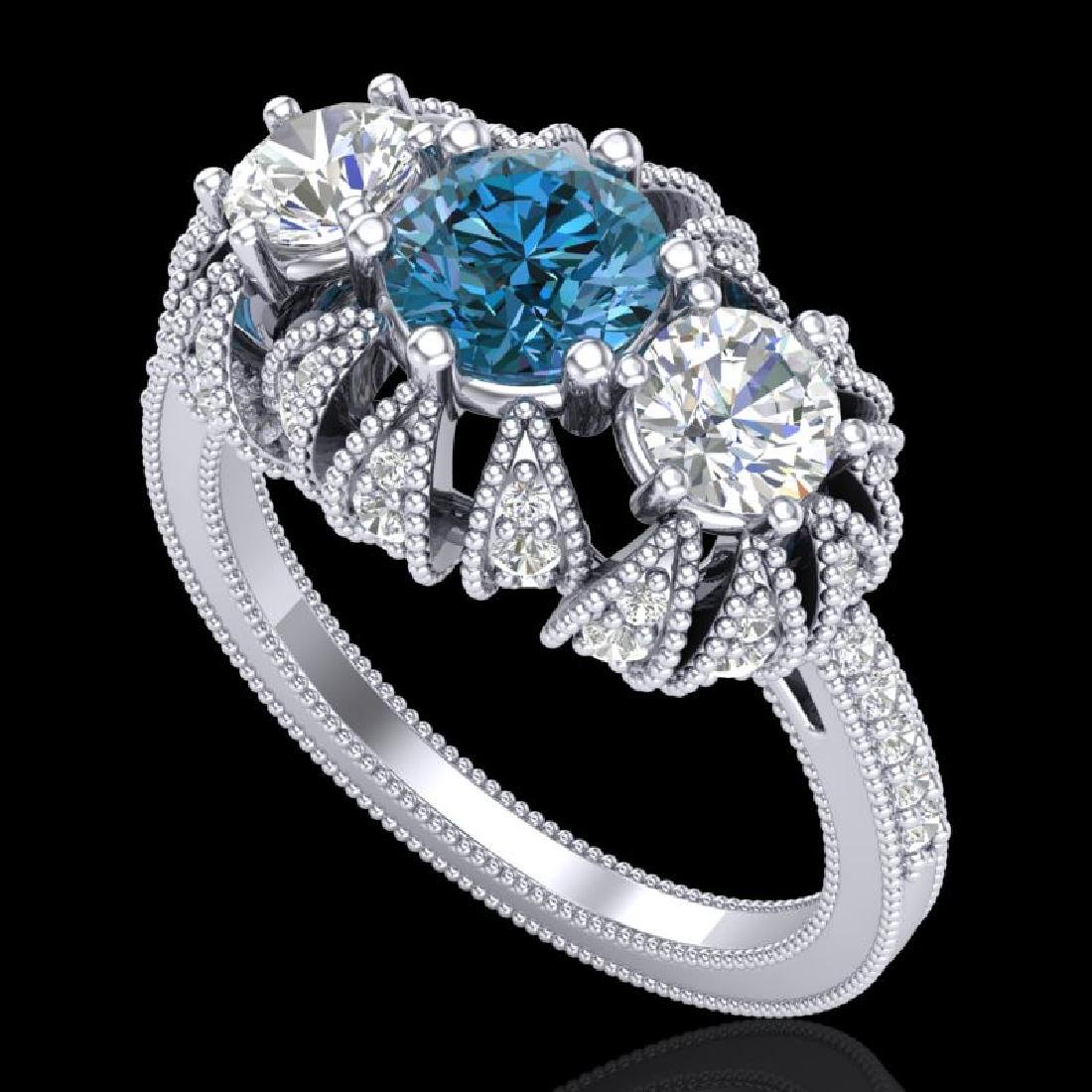 2.26 CTW Intense Blue Diamond Art Deco Micro Pave 3