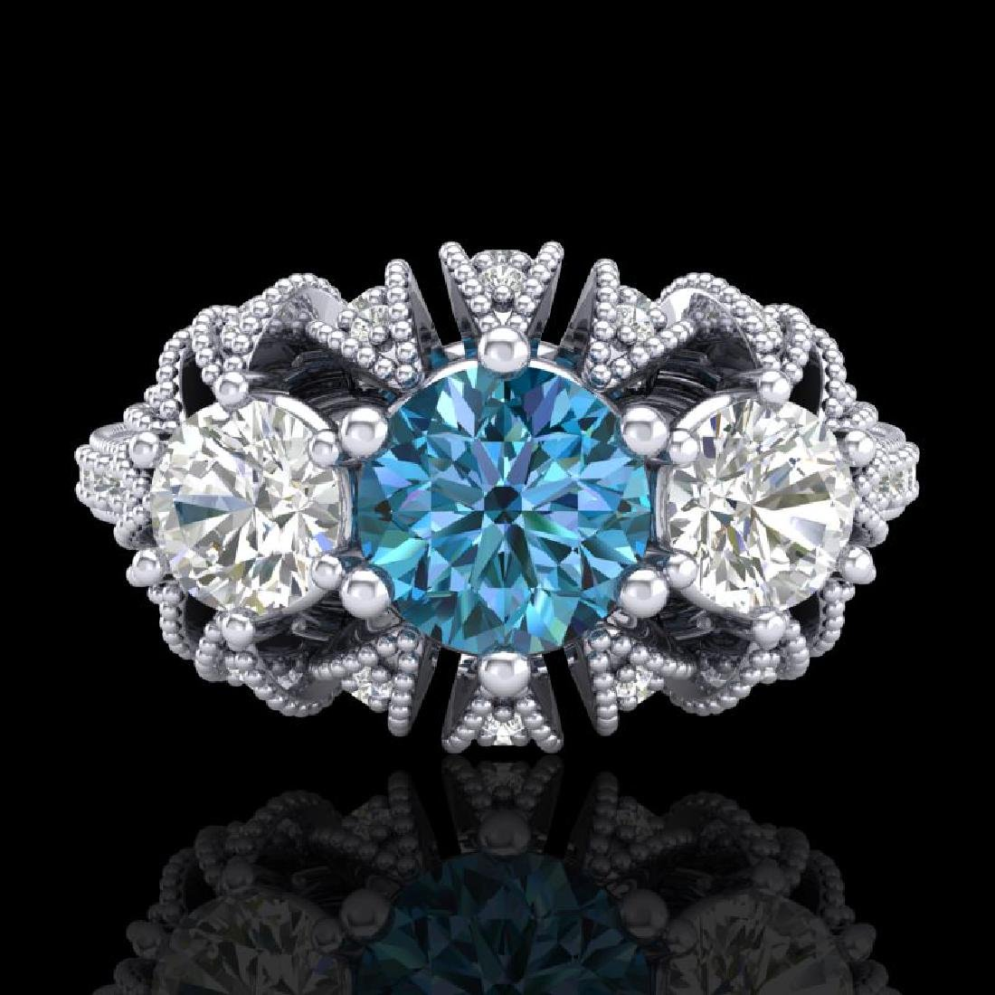 2.26 CTW Intense Blue Diamond Art Deco Micro Pave 3 - 2
