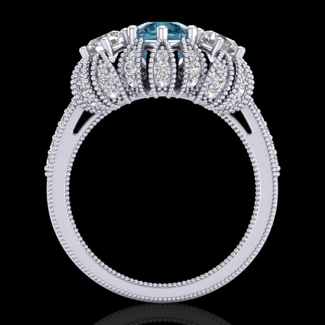 2.26 CTW Intense Blue Diamond Art Deco Micro Pave 3 - 3