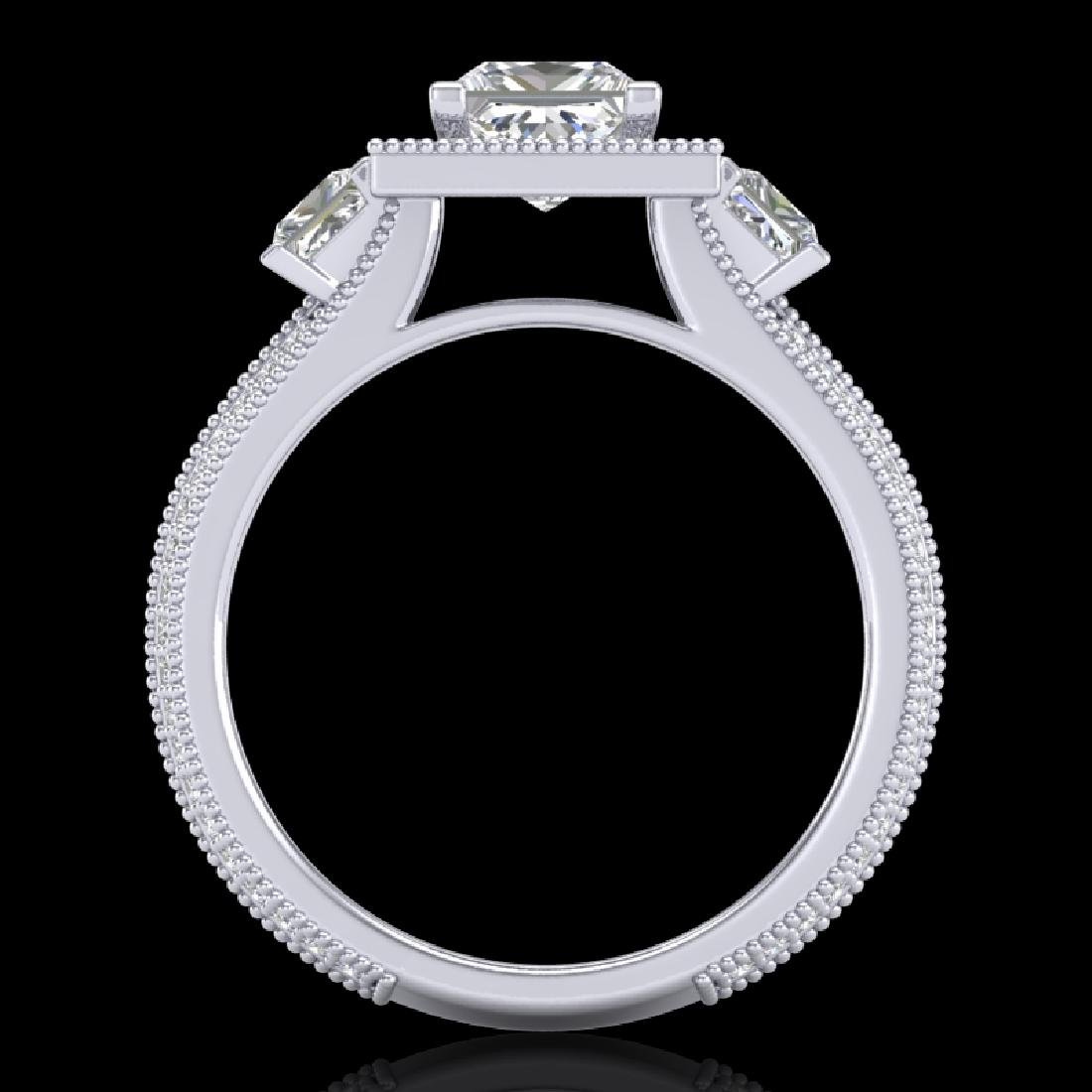 2.5 CTW Princess VS/SI Diamond Micro Pave 3 Stone Ring