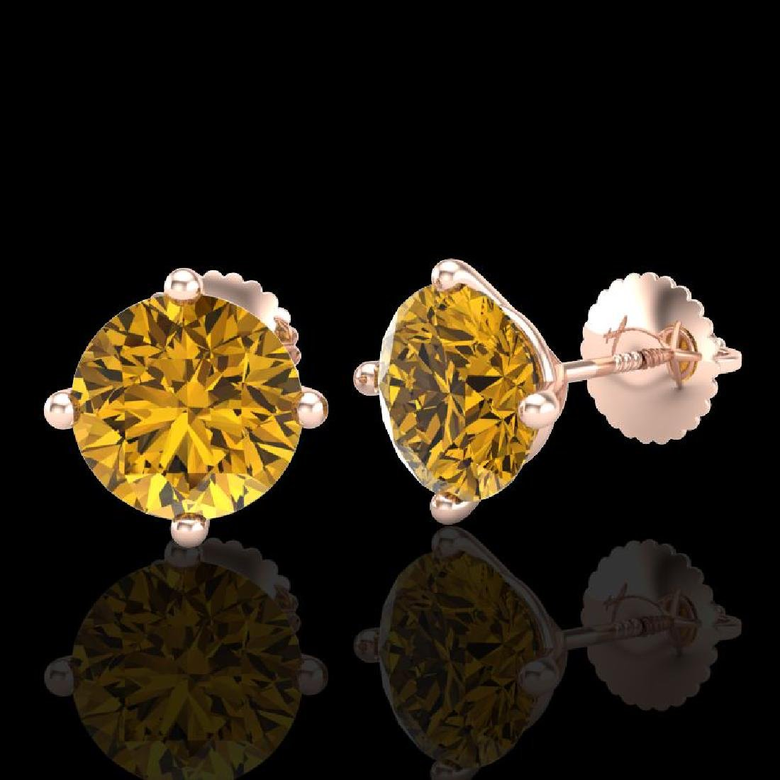 3.01 CTW Intense Fancy Yellow Diamond Art Deco Stud - 2