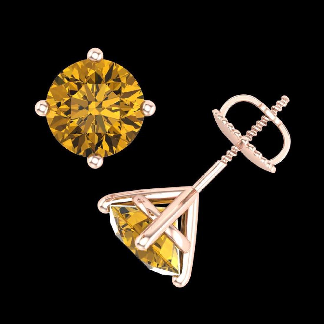 3.01 CTW Intense Fancy Yellow Diamond Art Deco Stud - 3