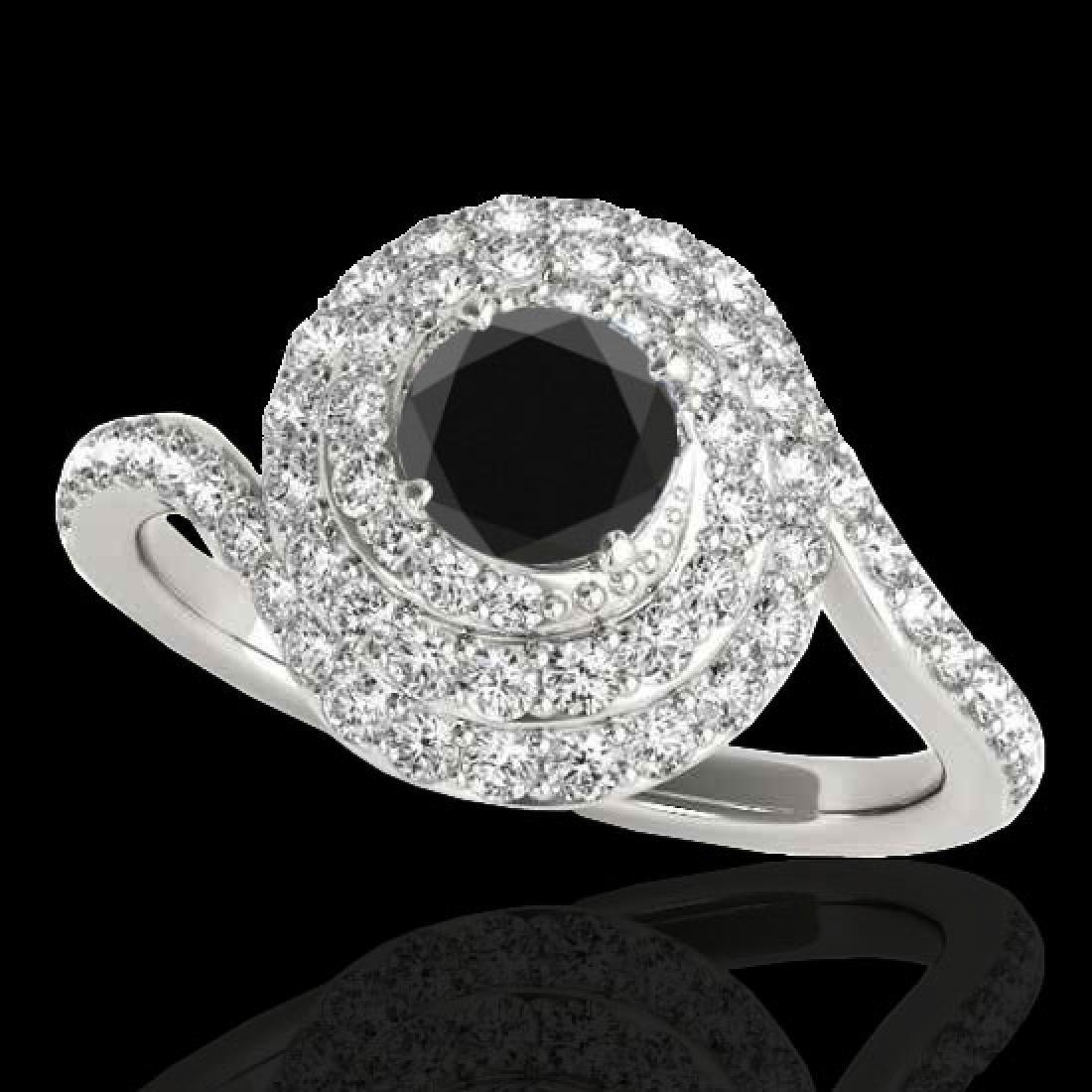 1.86 CTW Certified VS Black Diamond Solitaire Halo Ring