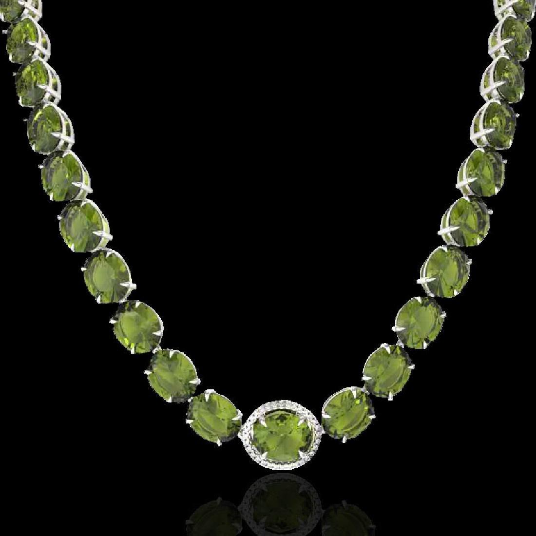 145 CTW Green Tourmaline & VS/SI Diamond Halo Micro - 2
