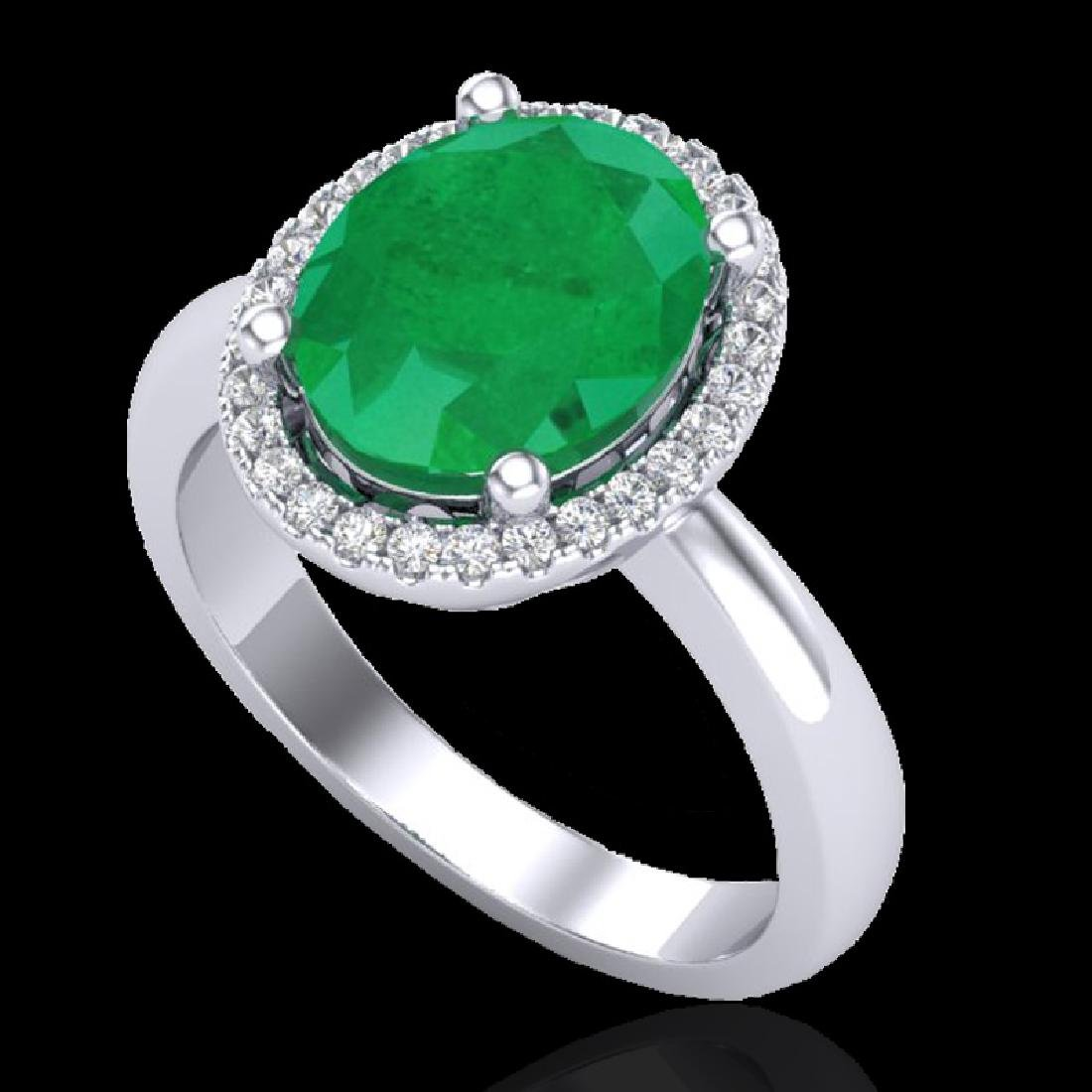 3 CTW Emerald & Micro Pave VS/SI Diamond Ring Halo 18K - 2
