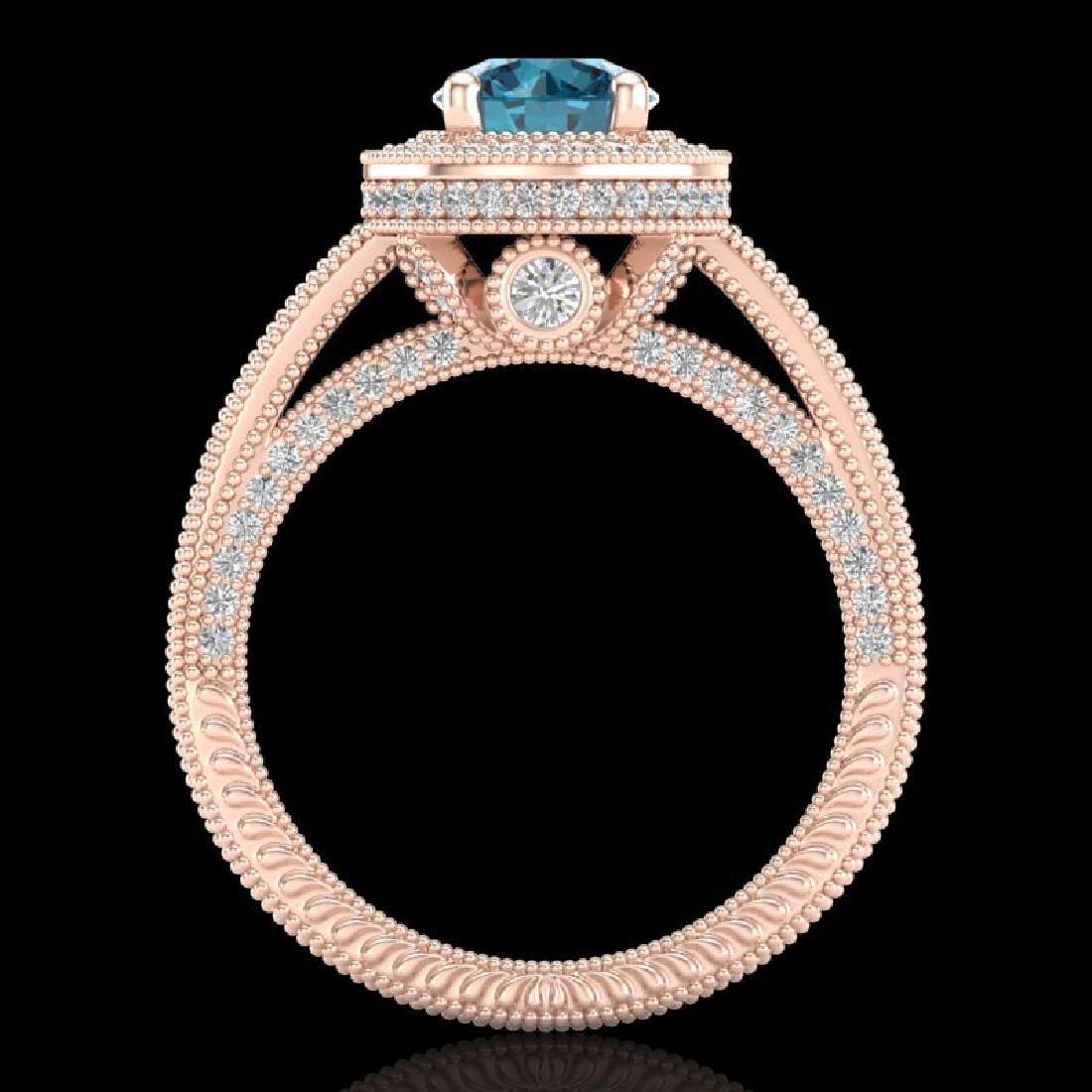 2.8 CTW Intense Blue Diamond Solitaire Engagement Art - 3