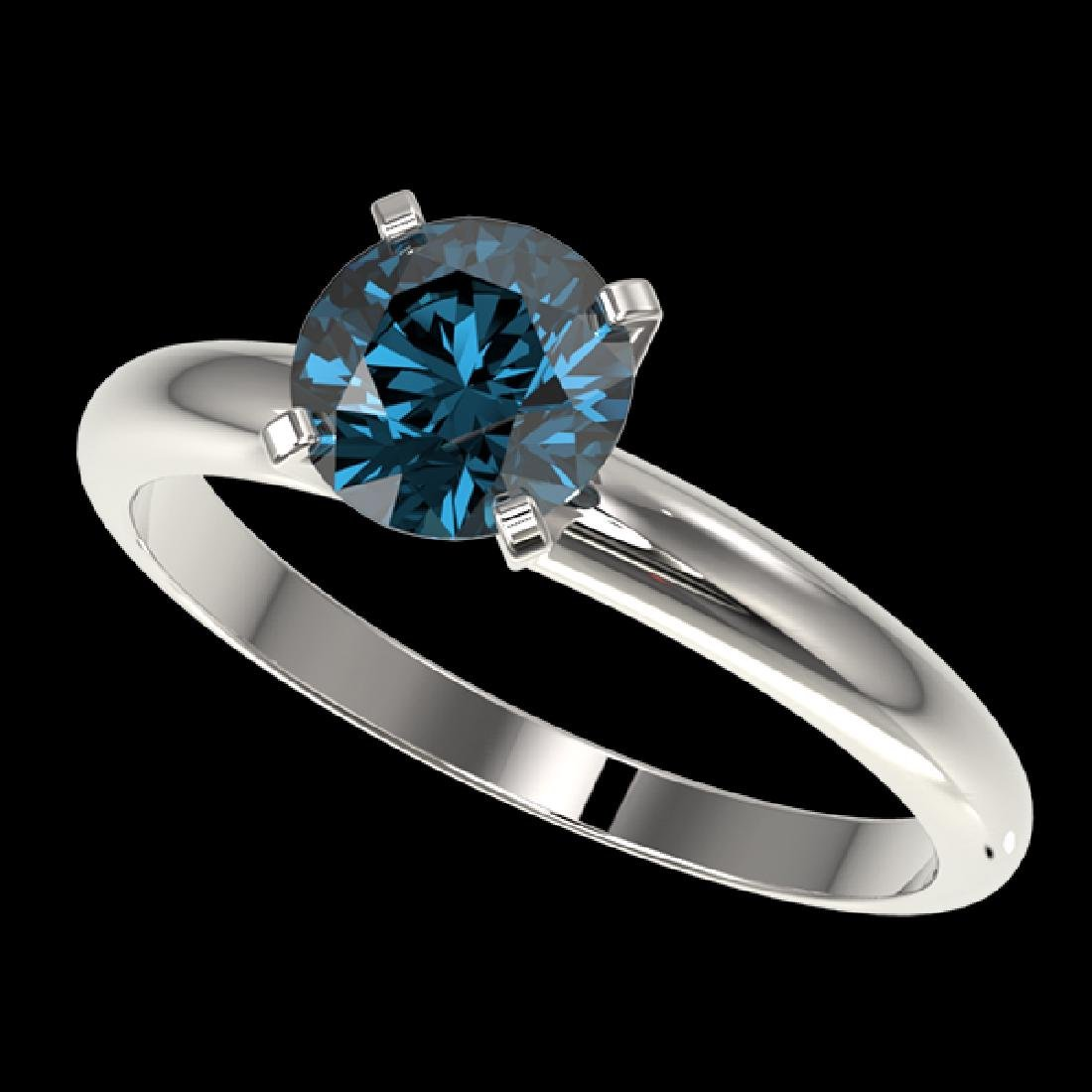 1.26 CTW Certified Intense Blue SI Diamond Solitaire