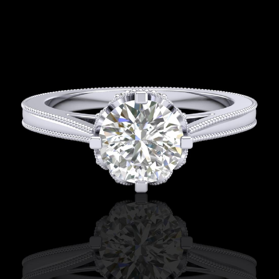 1.14 CTW VS/SI Diamond Art Deco Ring 18K White Gold - 2