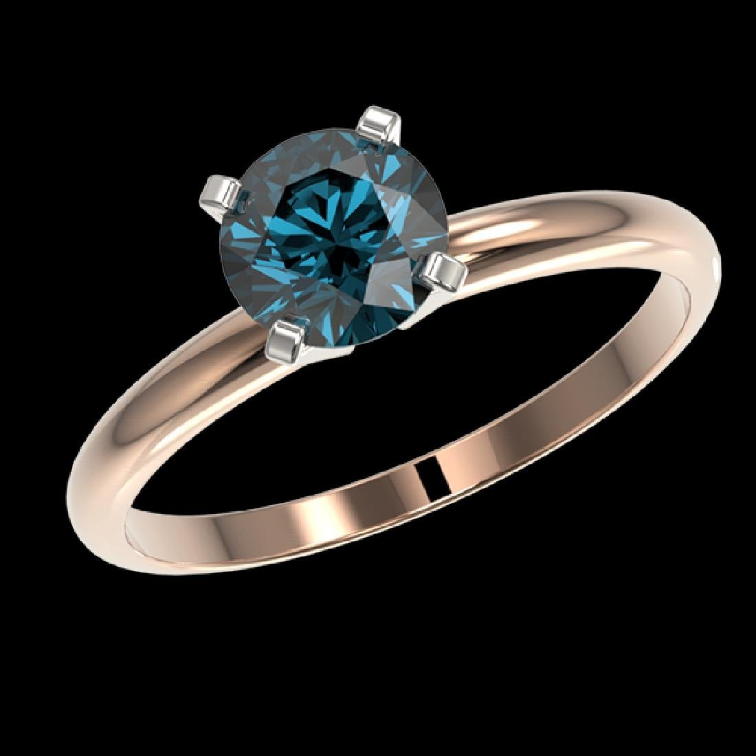 1.05 CTW Certified Intense Blue SI Diamond Solitaire - 2