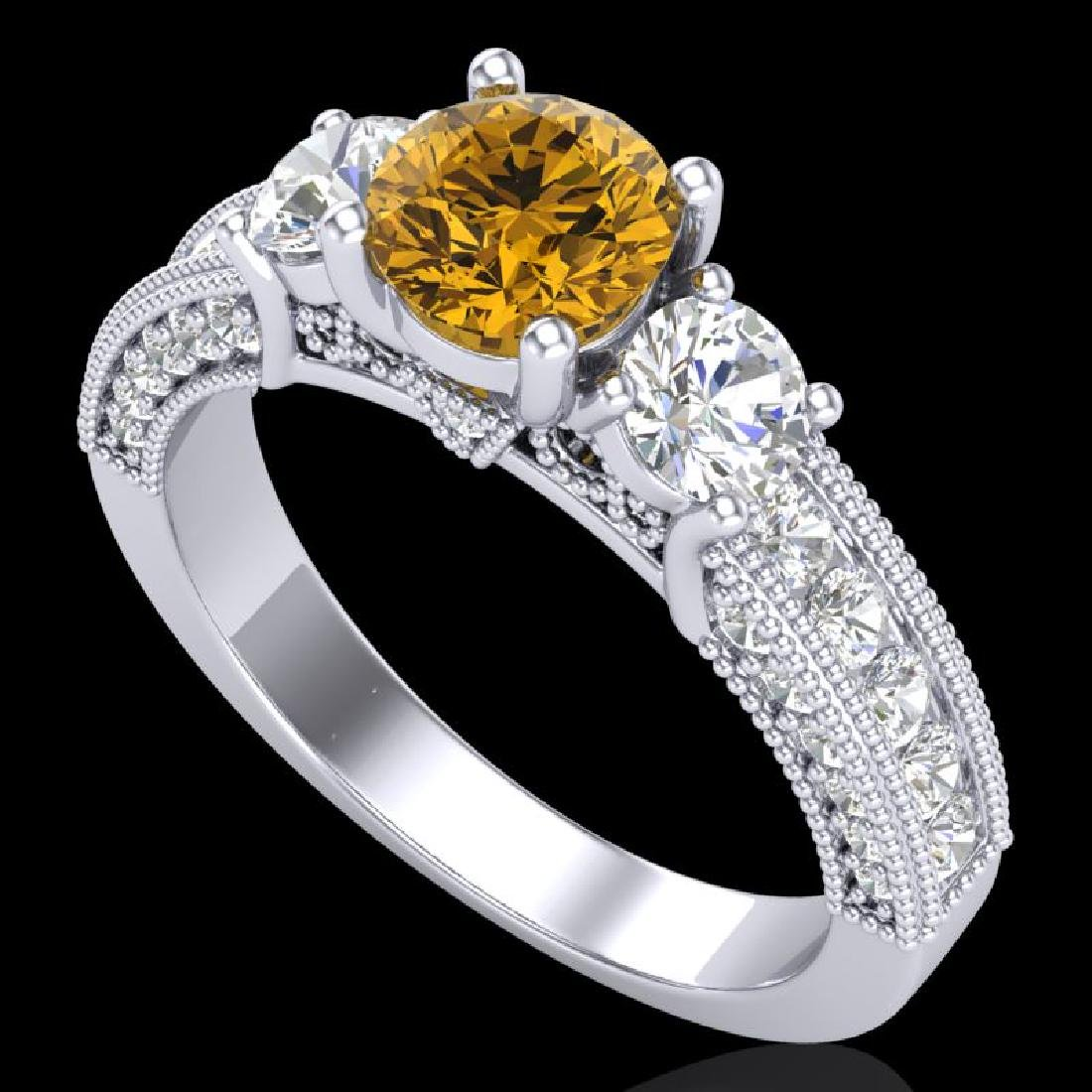 2.07 CTW Intense Fancy Yellow Diamond Art Deco 3 Stone
