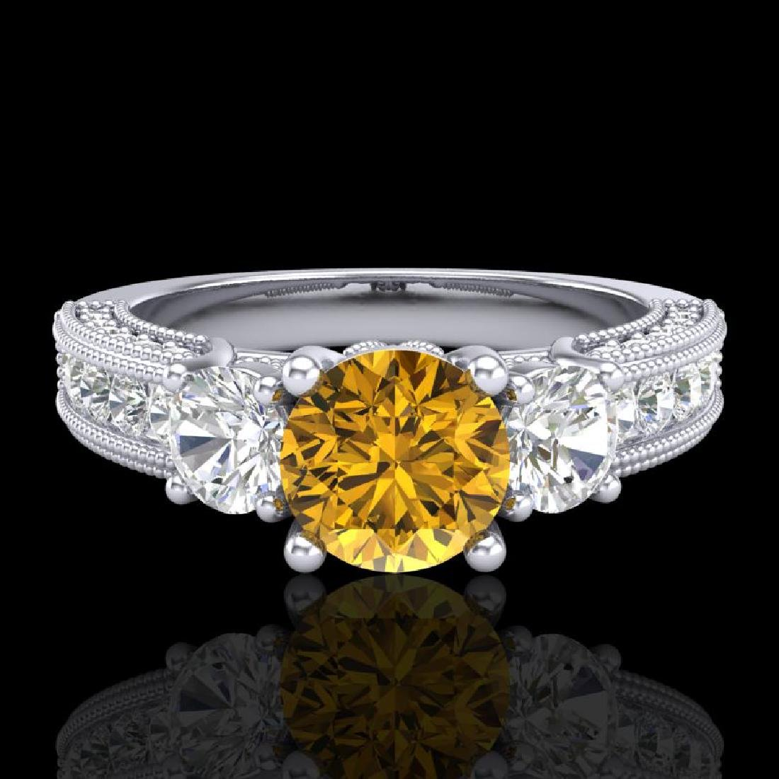2.07 CTW Intense Fancy Yellow Diamond Art Deco 3 Stone - 2