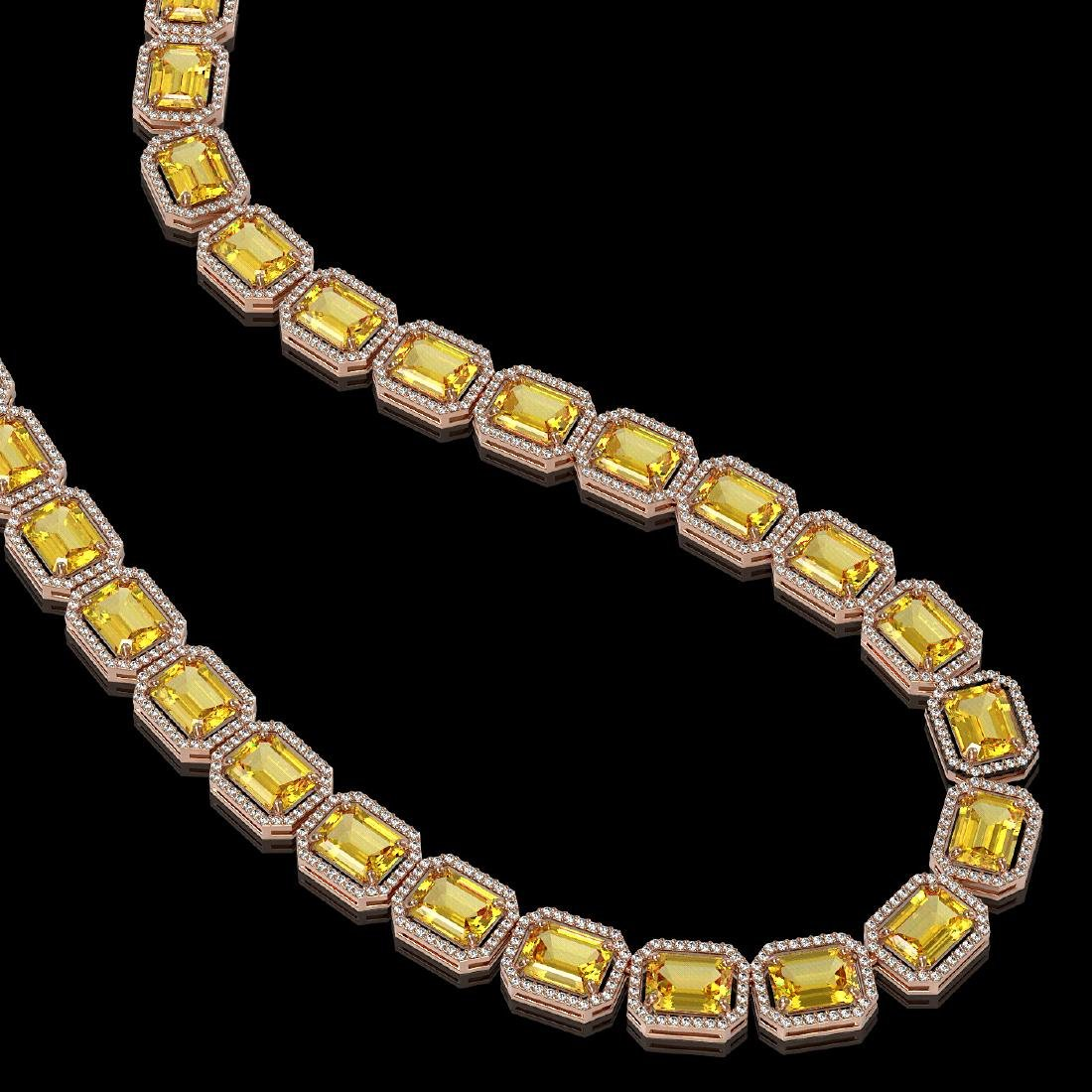 77.35 CTW Fancy Citrine & Diamond Halo Necklace 10K - 2