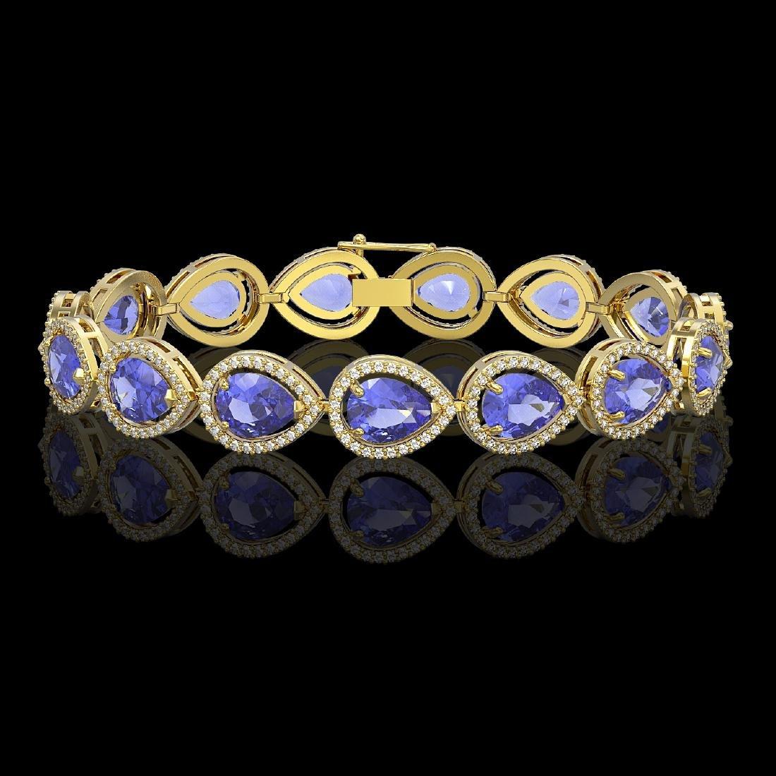 21.06 CTW Tanzanite & Diamond Halo Bracelet 10K Yellow