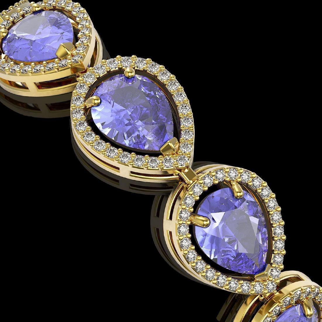 21.06 CTW Tanzanite & Diamond Halo Bracelet 10K Yellow - 3