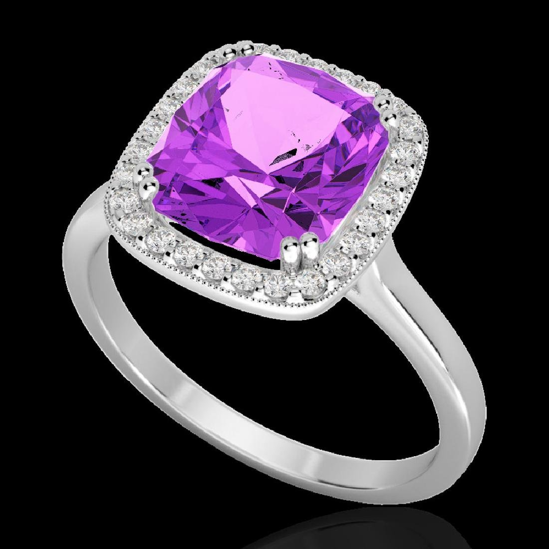 2.75 CTW Amethyst & Micro Pave VS/SI Diamond Halo - 2