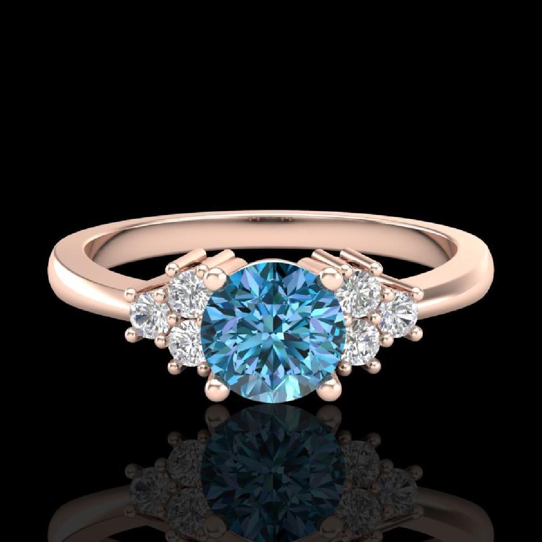 0.75 CTW Fancy Intense Blue Diamond Engagement Classic - 2