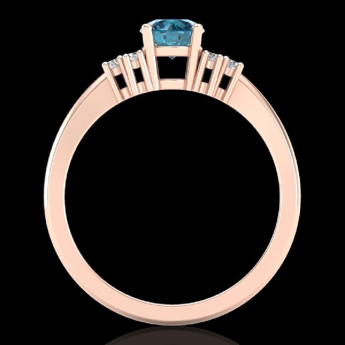 0.75 CTW Fancy Intense Blue Diamond Engagement Classic - 3
