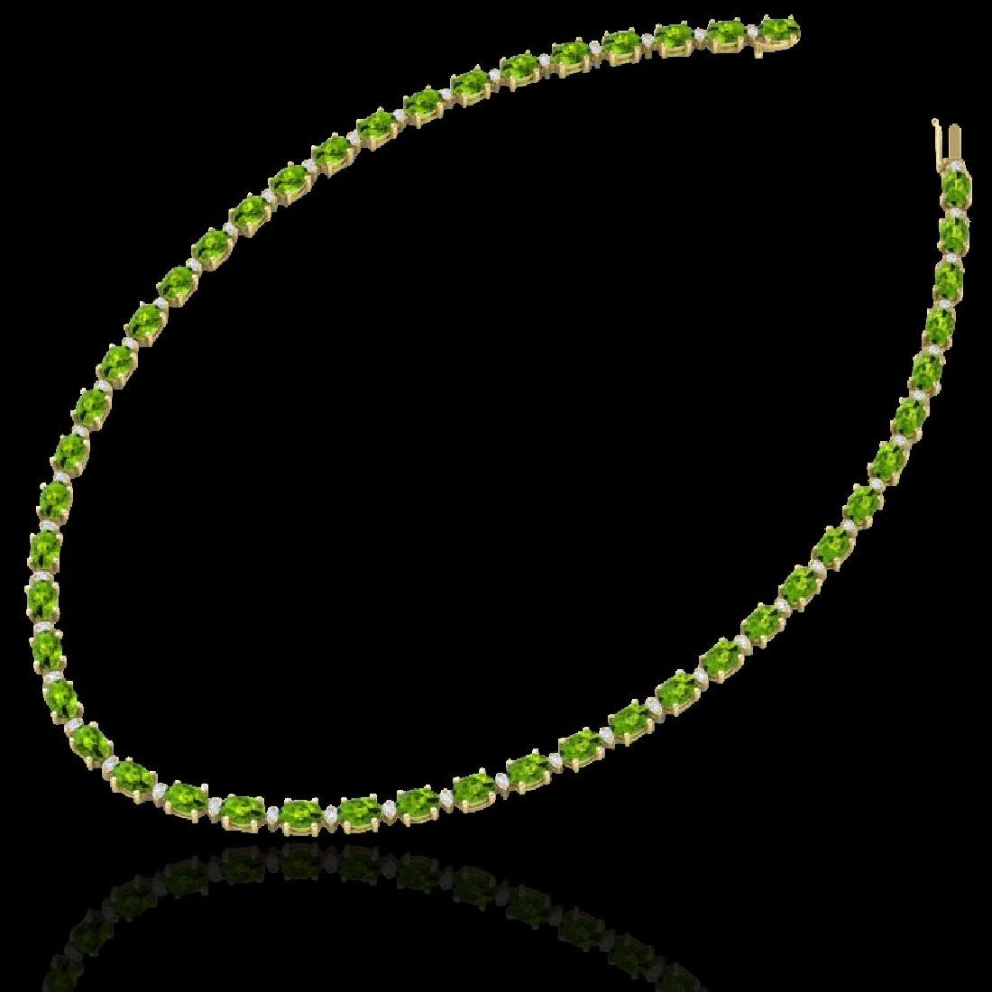 34 CTW Peridot & VS/SI Diamond Tennis Necklace White - 2