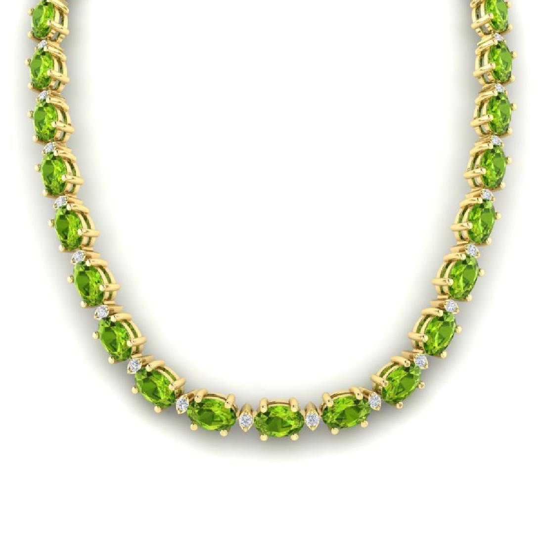 34 CTW Peridot & VS/SI Diamond Tennis Necklace White - 3