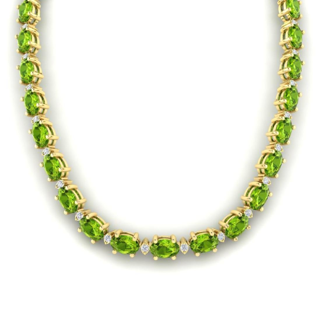 34 CTW Peridot & VS/SI Diamond Tennis Necklace White - 3