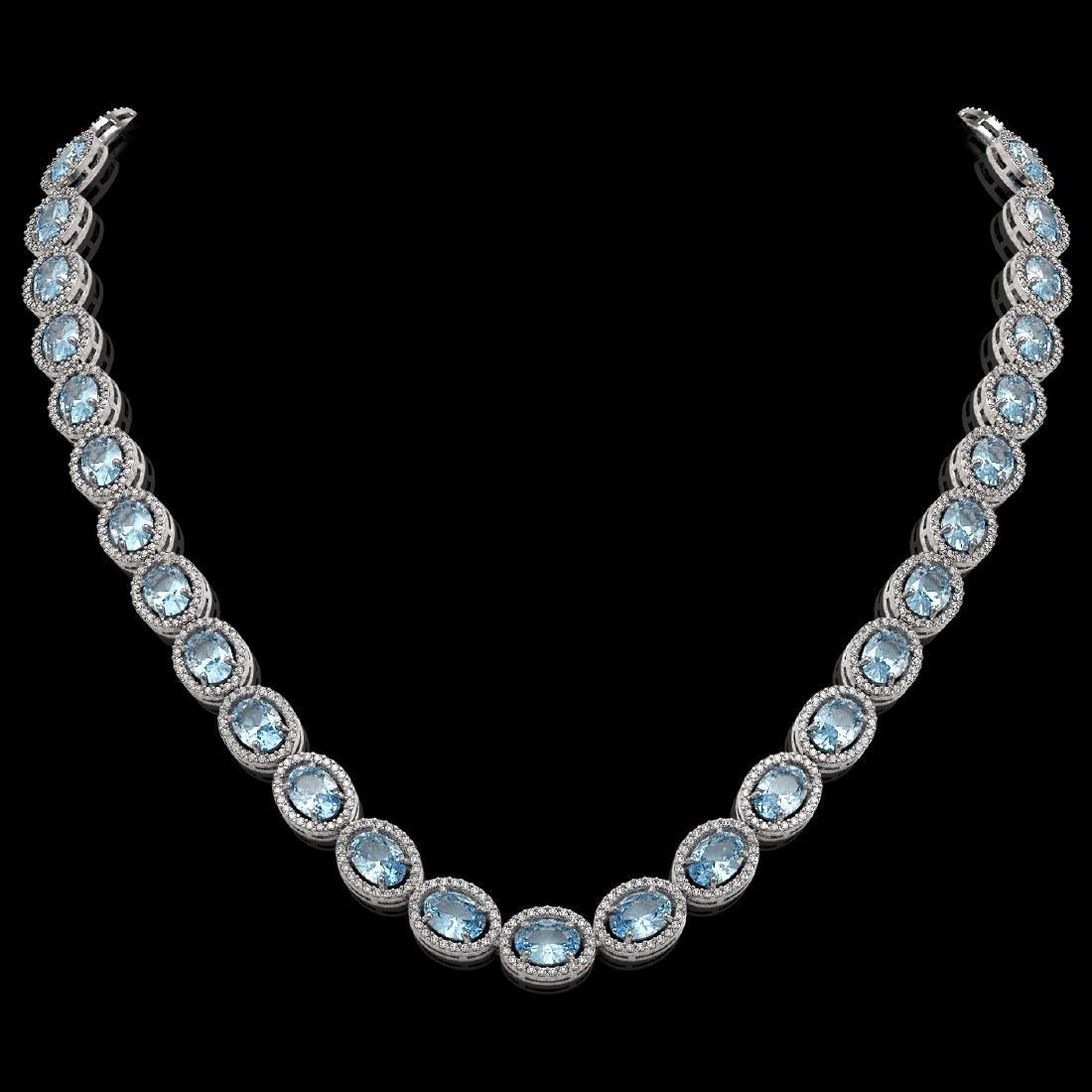 41.88 CTW Aquamarine & Diamond Halo Necklace 10K White