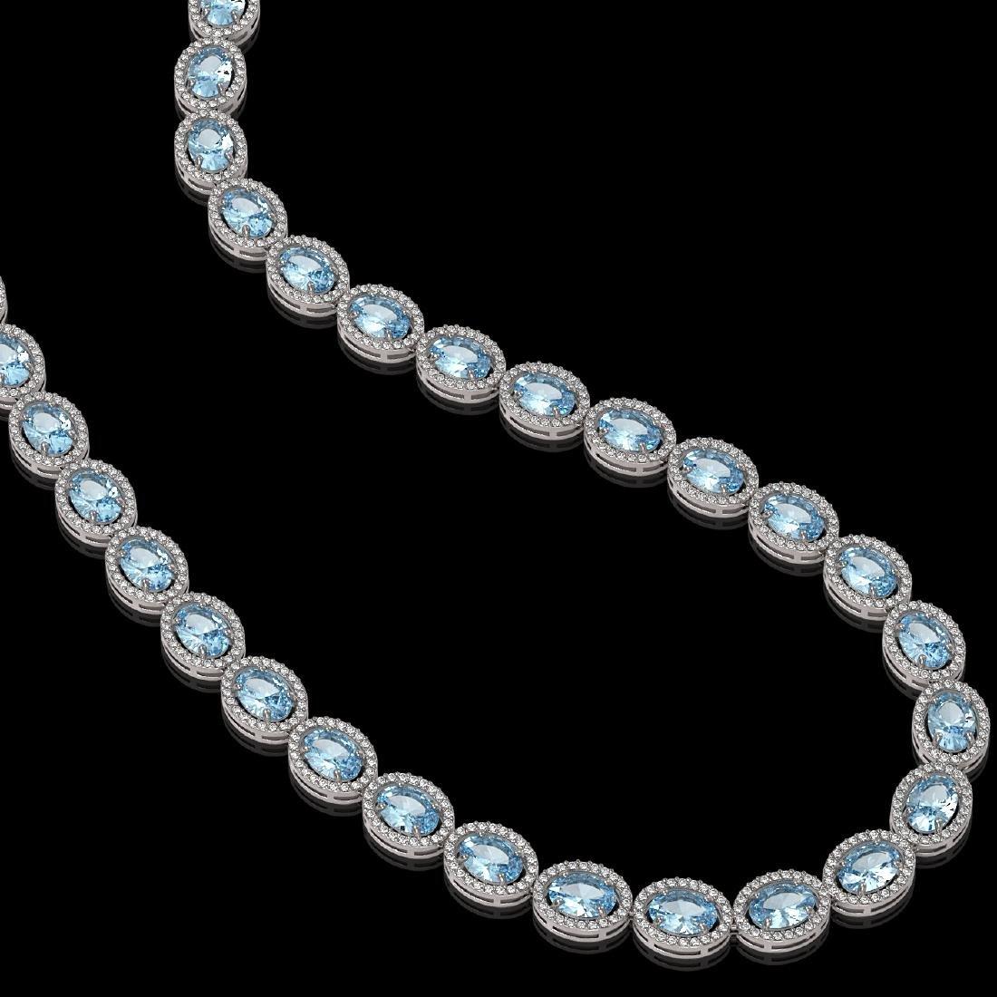 41.88 CTW Aquamarine & Diamond Halo Necklace 10K White - 2