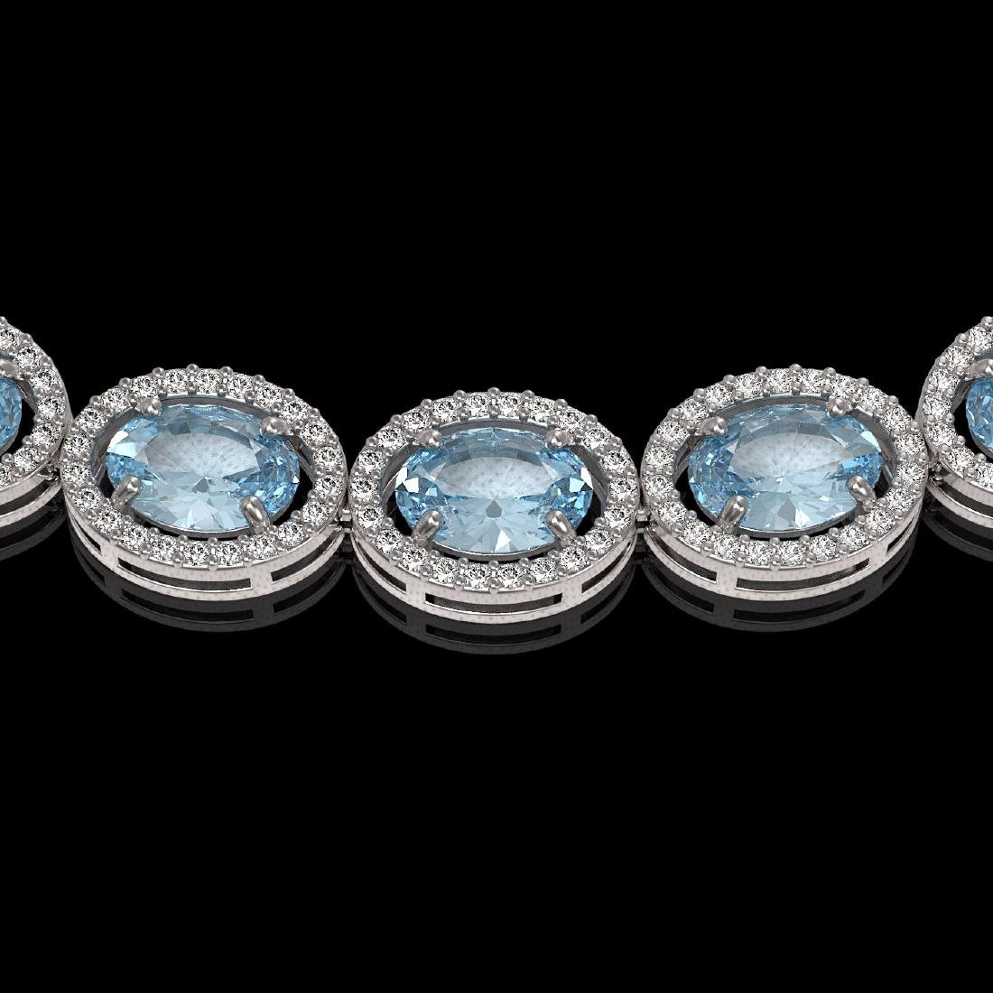 41.88 CTW Aquamarine & Diamond Halo Necklace 10K White - 3
