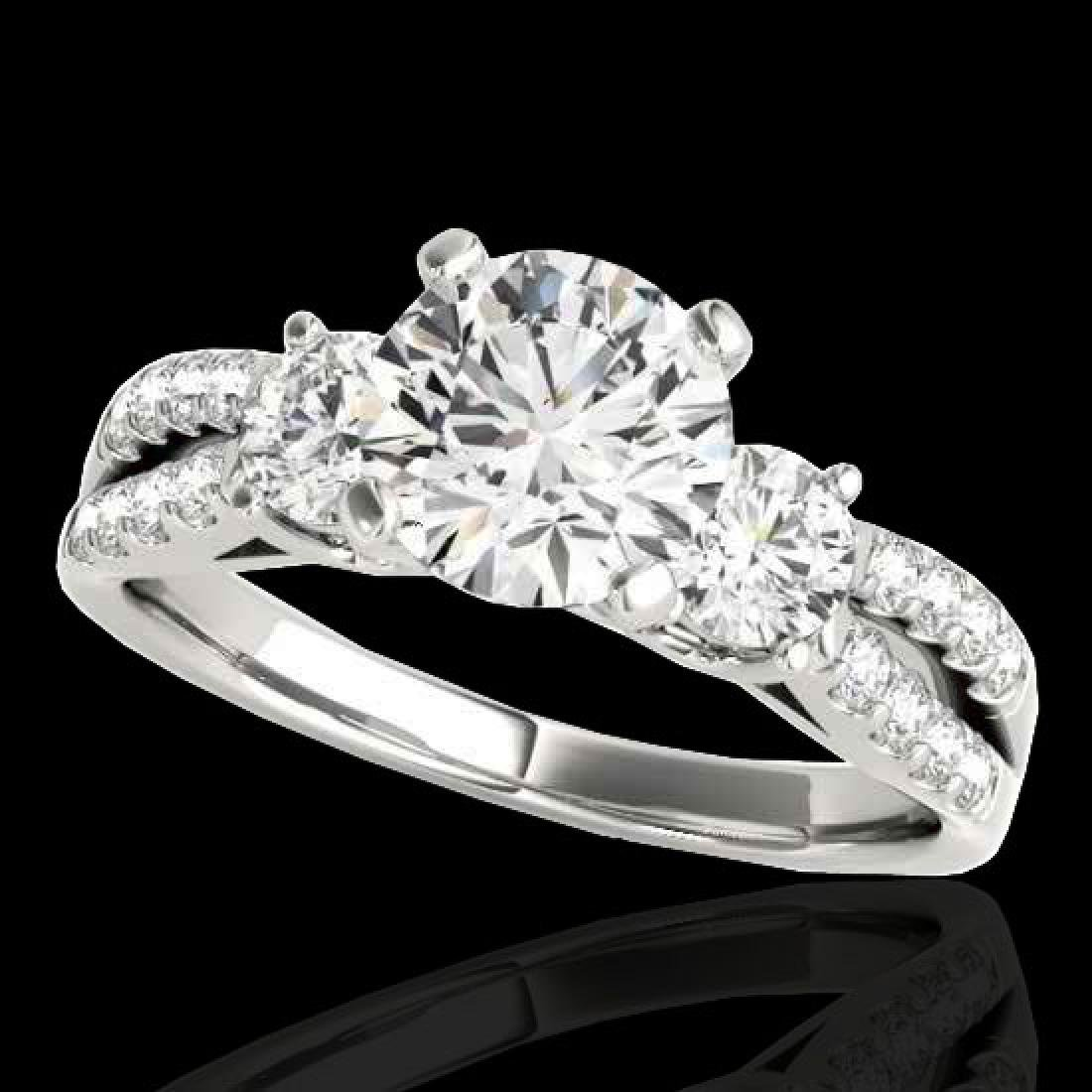 1.5 CTW H-SI/I Certified Diamond 3 Stone Ring 10K White