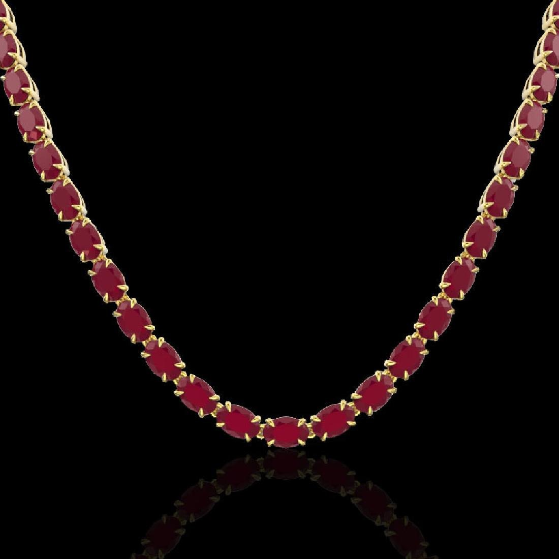 40 CTW Ruby Eternity Tennis Necklace 14K Yellow Gold - 2