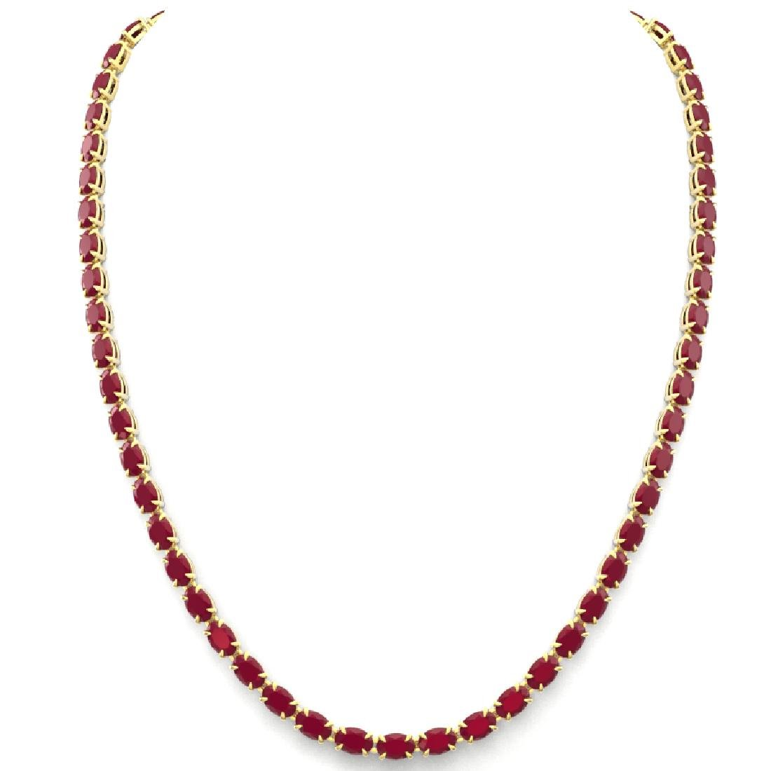 40 CTW Ruby Eternity Tennis Necklace 14K Yellow Gold - 3