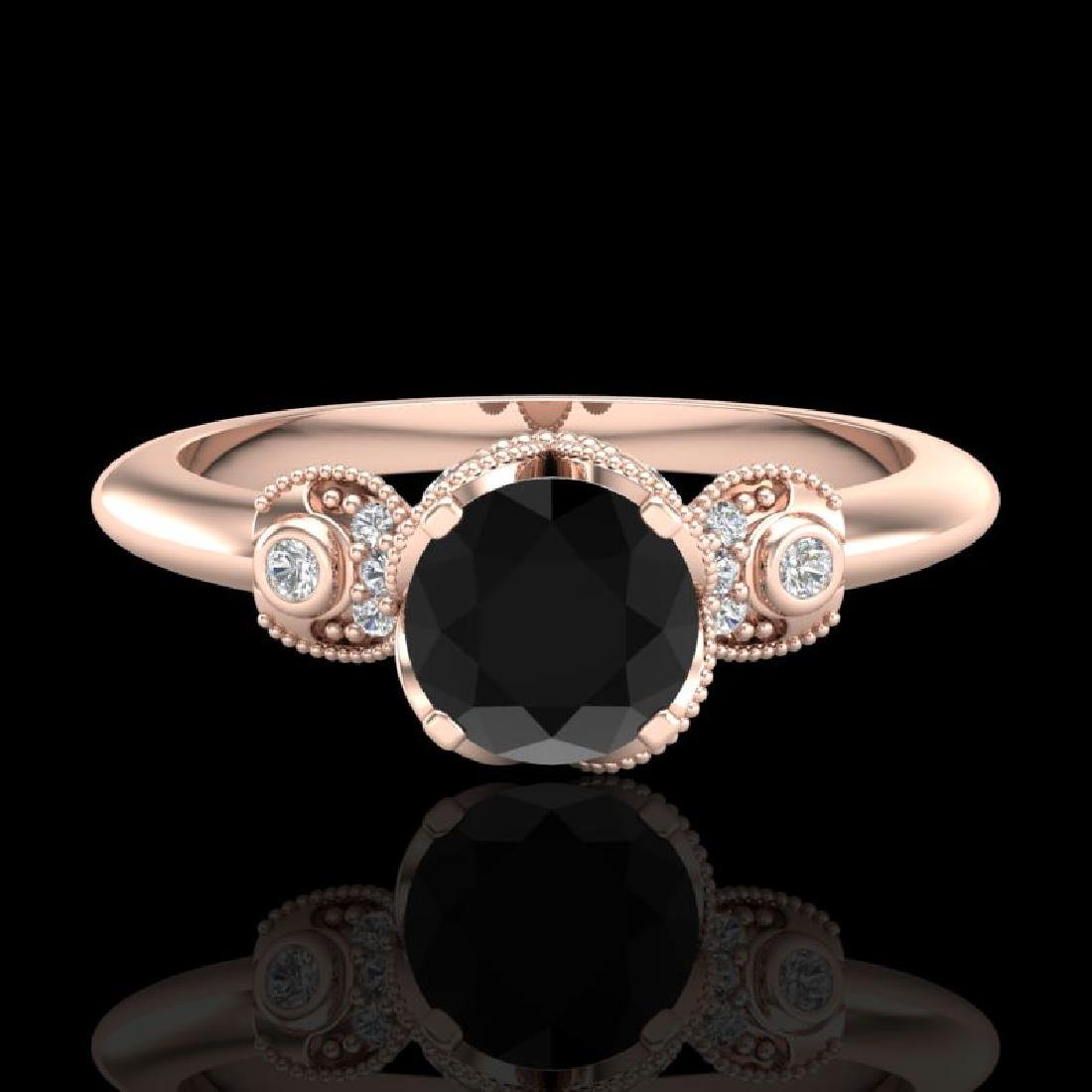 1 CTW Fancy Black Diamond Solitaire Engagement Art Deco - 2