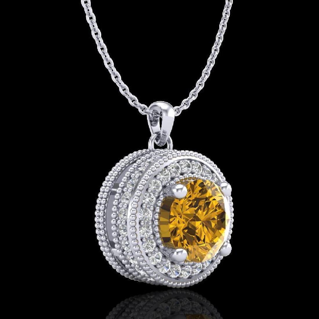 1.25 CTW Intense Fancy Yellow Diamond Art Deco Stud - 3