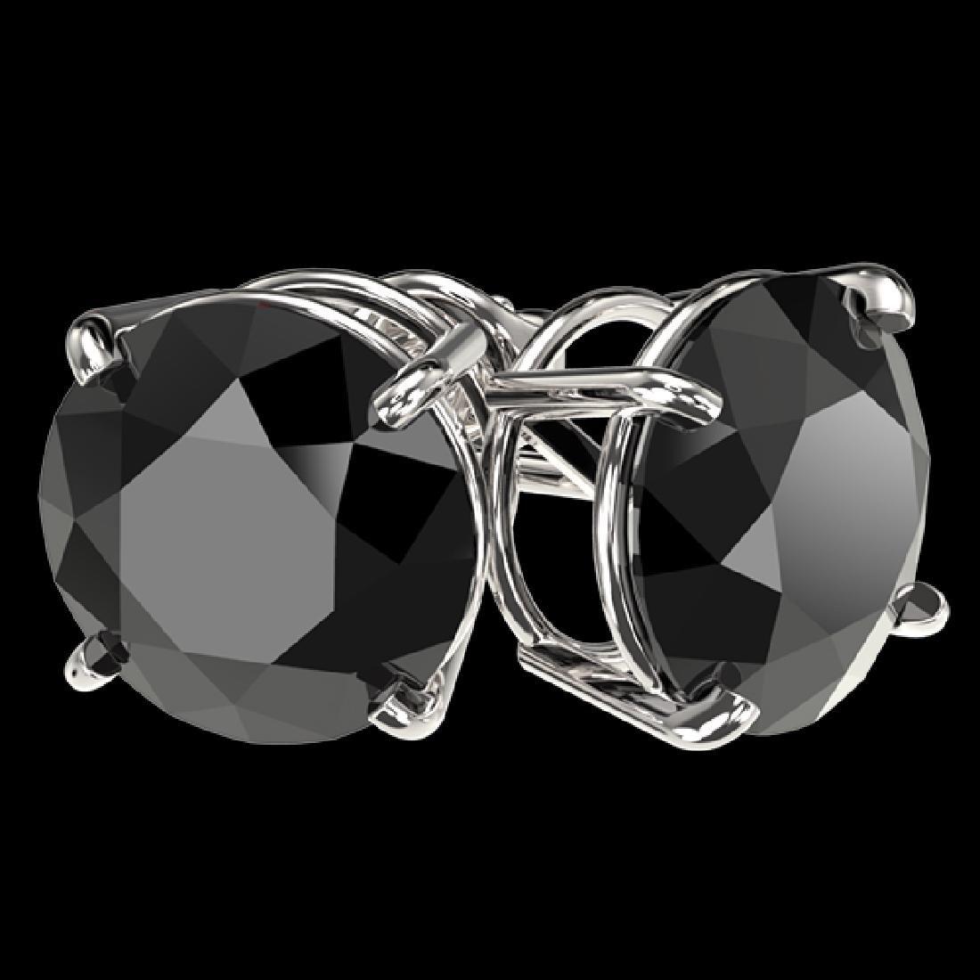 4.19 CTW Fancy Black VS Diamond Solitaire Stud Earrings - 3
