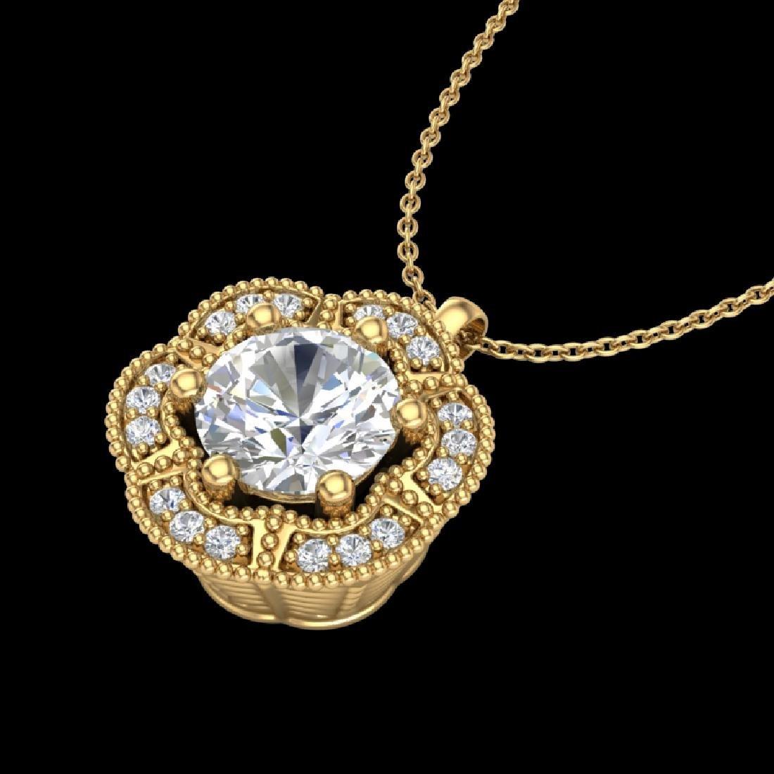 1.01 CTW VS/SI Diamond Solitaire Art Deco Necklace 18K