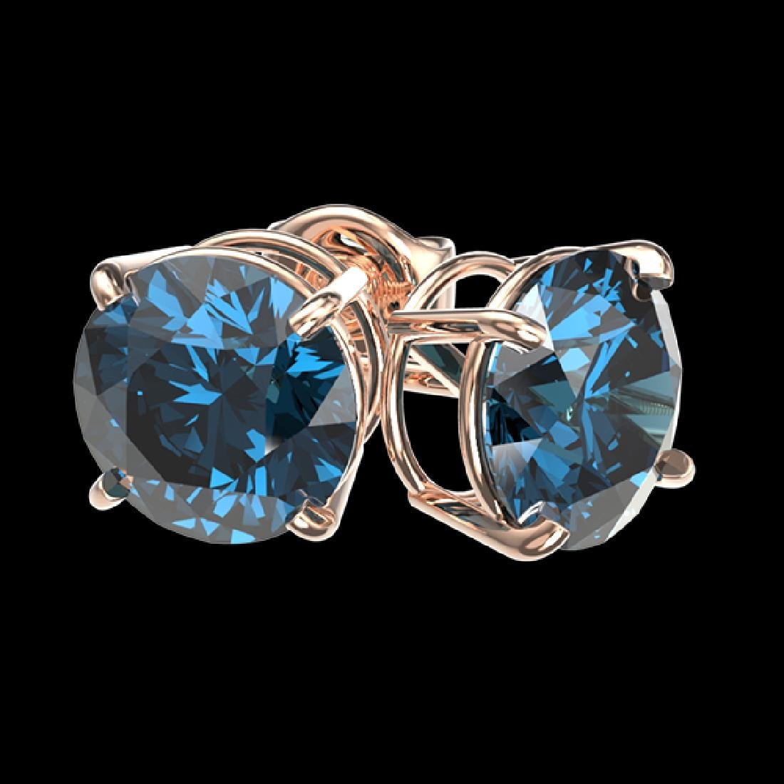 2 CTW Certified Intense Blue SI Diamond Solitaire Stud - 3