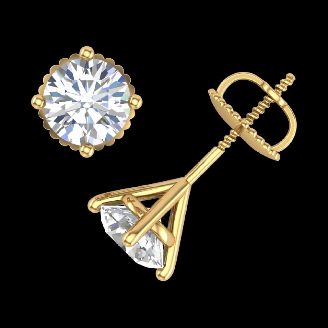 1.5 CTW VS/SI Diamond Solitaire Art Deco Stud Earrings - 3