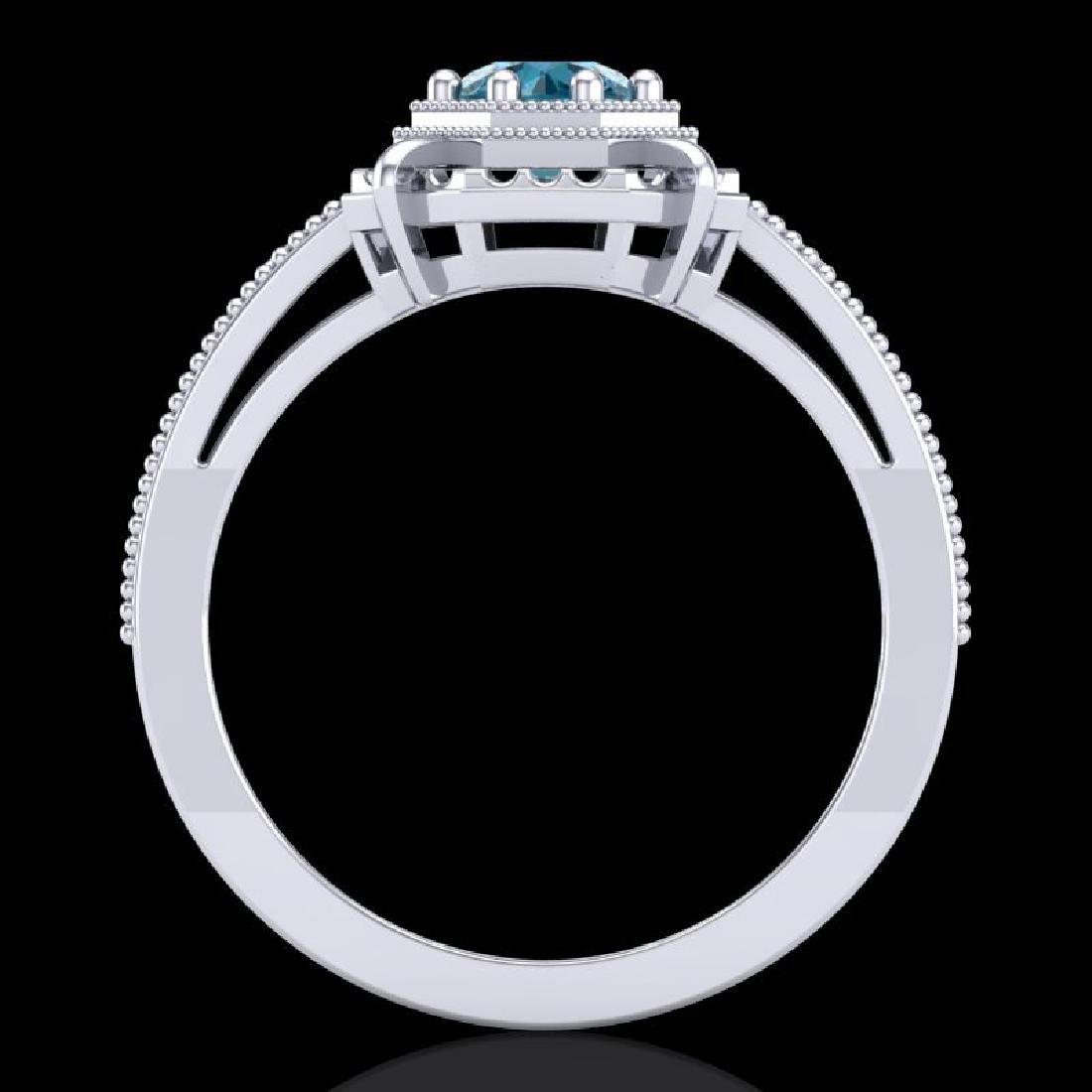 0.53 CTW Fancy Intense Blue Diamond Solitaire Art Deco - 3