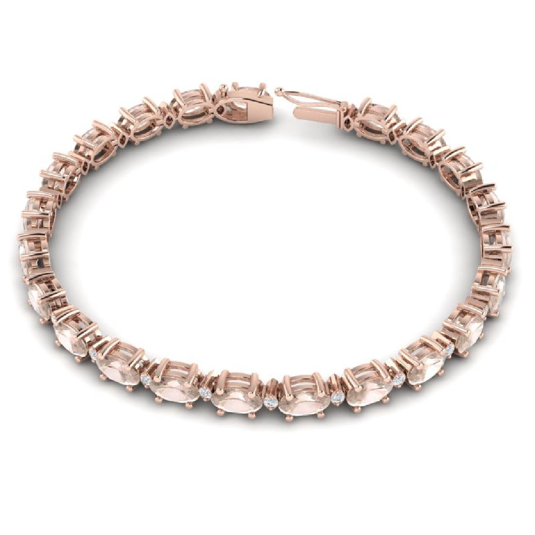 11 CTW Morganite & VS/SI Diamond Eternity Bracelet 10K - 3