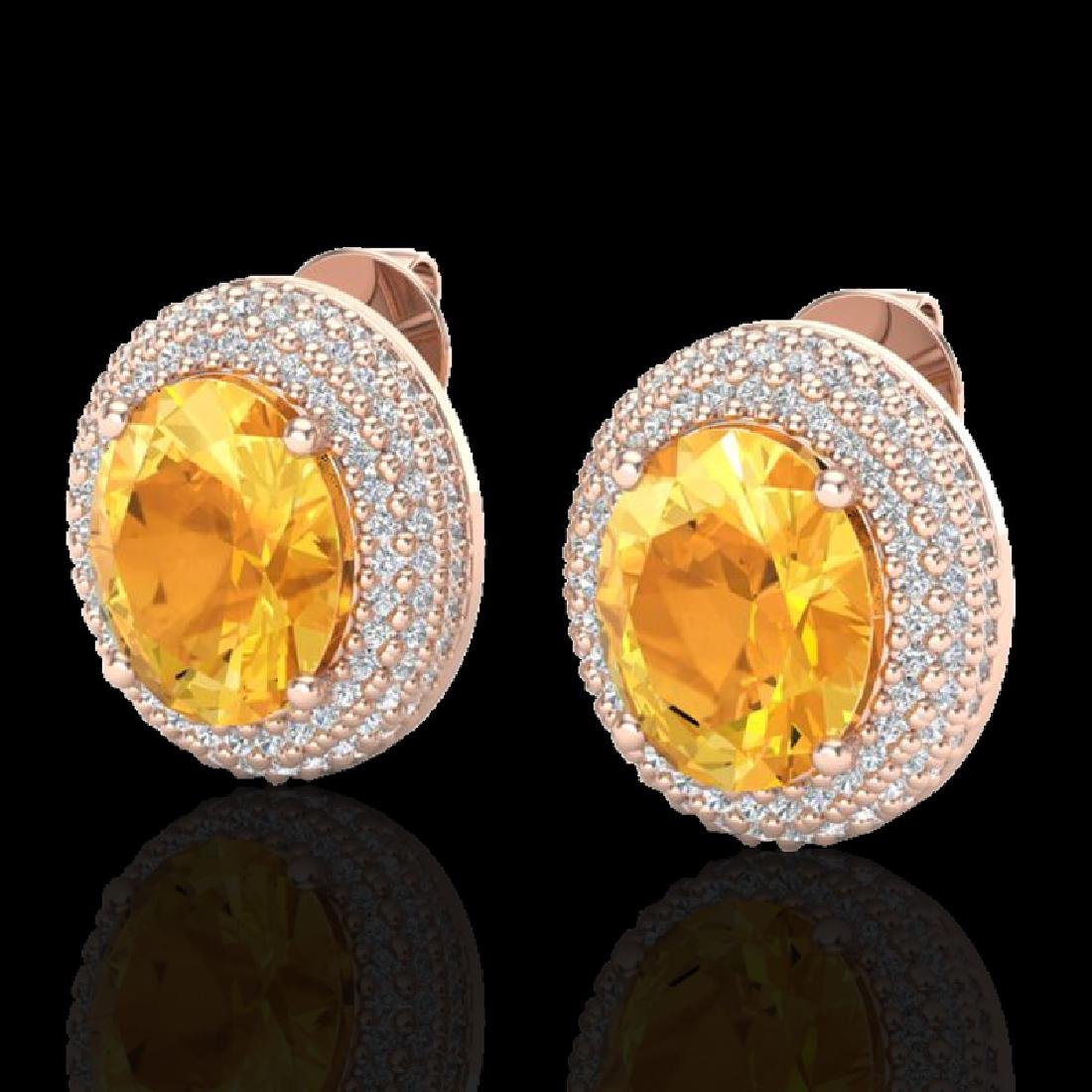 8 CTW Citrine & Micro Pave VS/SI Diamond Earrings 14K