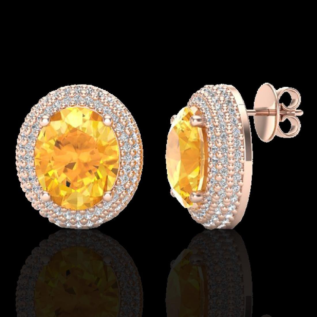 8 CTW Citrine & Micro Pave VS/SI Diamond Earrings 14K - 2