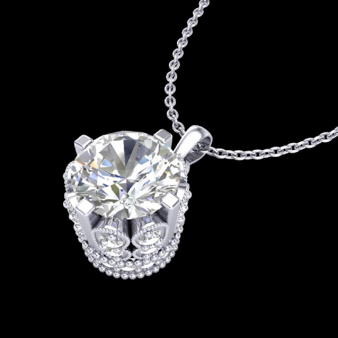 1.14 CTW VS/SI Diamond Solitaire Art Deco Stud Necklace - 2
