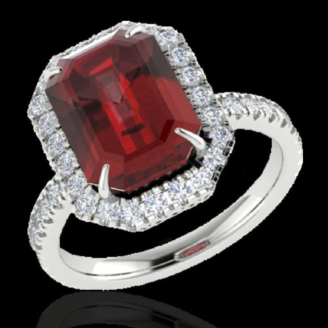 6.03 CTW Garnet And Micro Pave VS/SI Diamond Halo Ring - 2