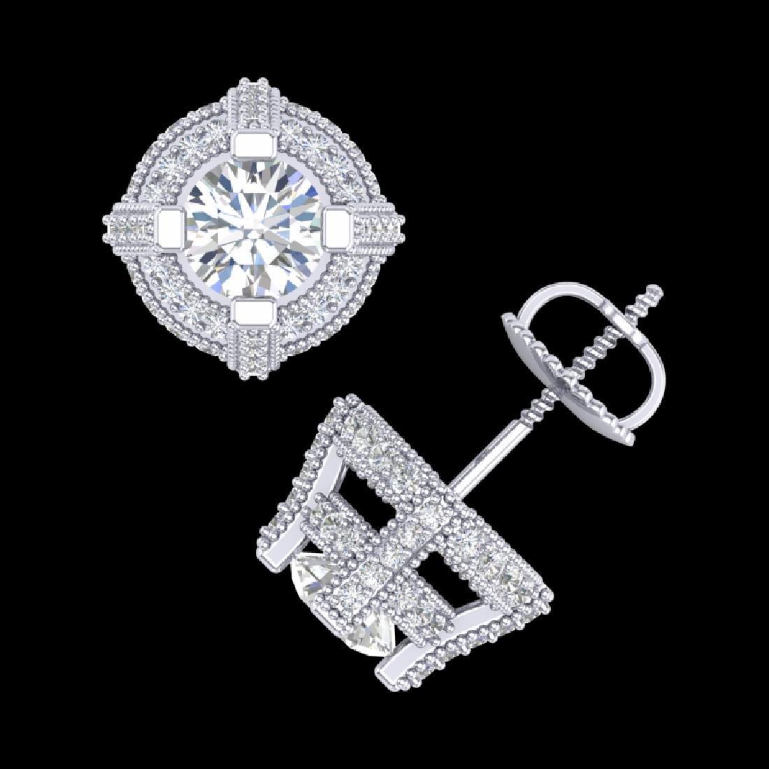 2.75 CTW VS/SI Diamond Micro Pave Stud Earrings 18K - 3