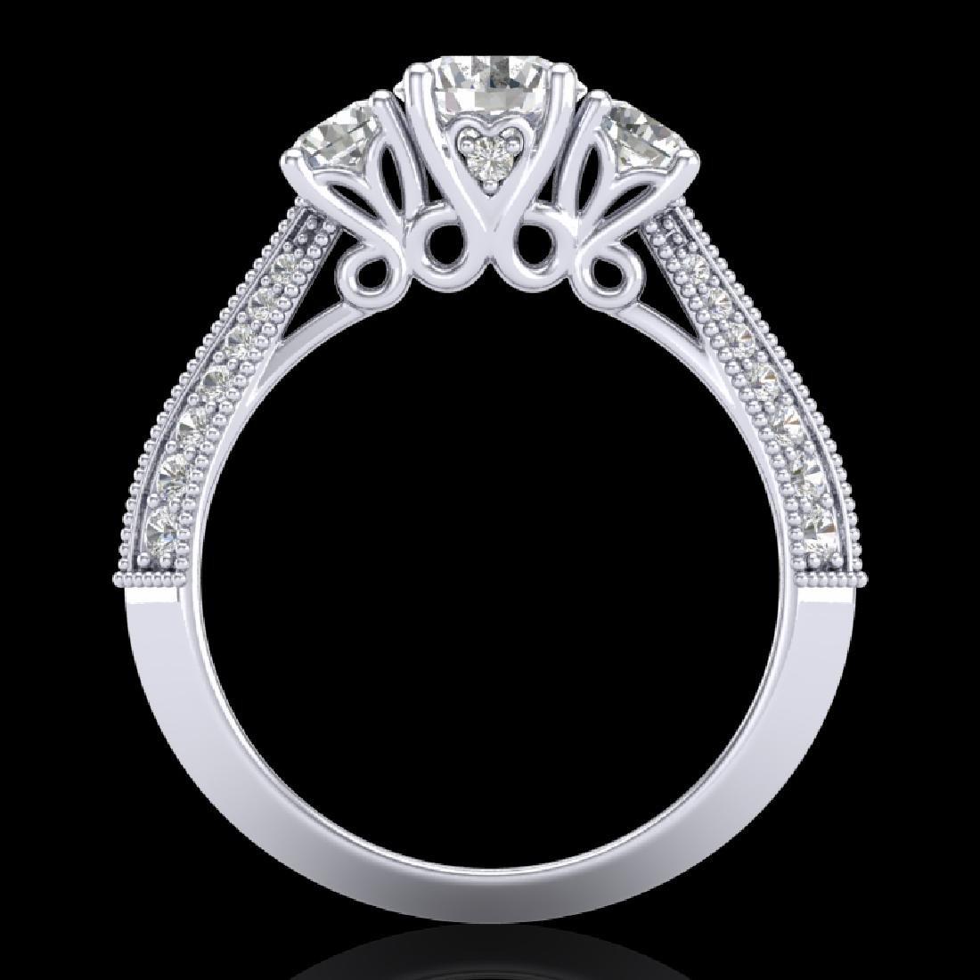 1.81 CTW VS/SI Diamond Art Deco 3 Stone Ring 18K White