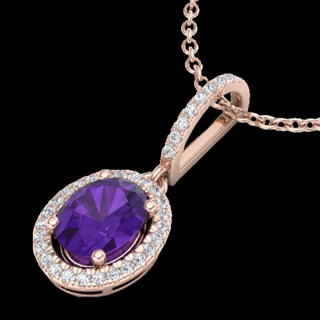 1.75 CTW Amethyst & Micro Pave VS/SI Diamond Necklace - 2