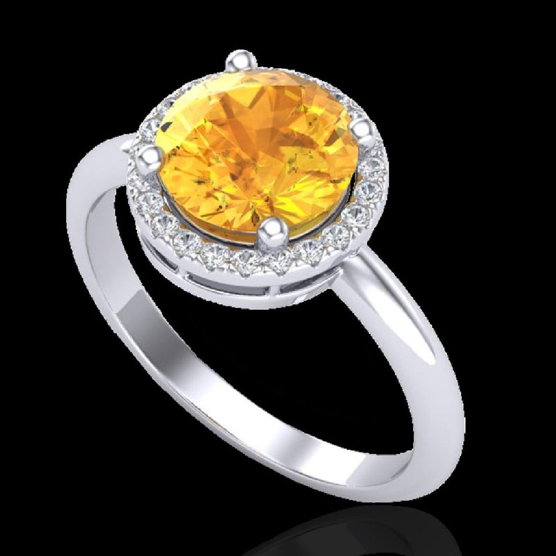 2 CTW Citrine & Micro VS/SI Diamond Ring Designer Halo - 2
