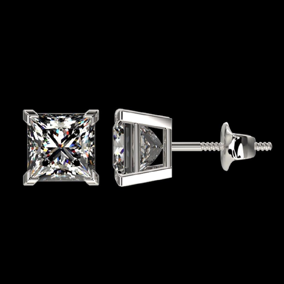 2 CTW Certified VS/SI Quality Princess Diamond Stud - 2