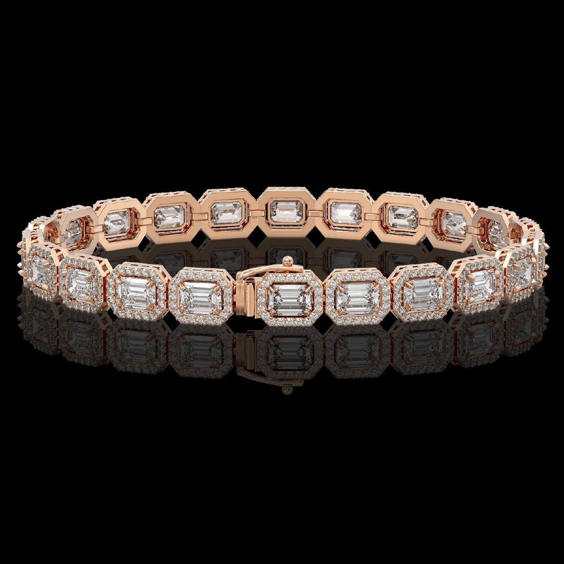 14.57 CTW Emerald Cut Diamond Designer Bracelet 18K - 2