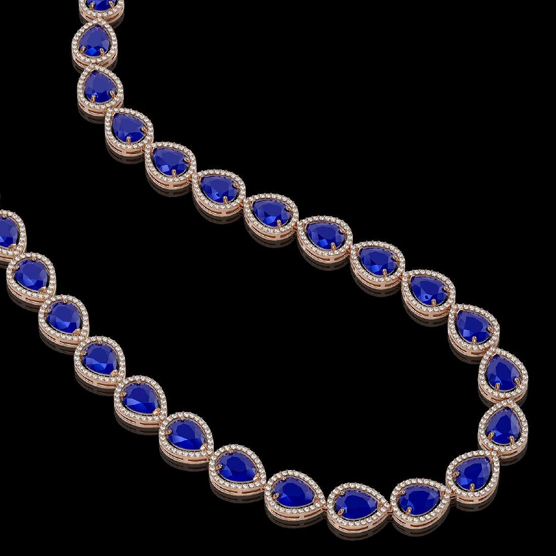 64.01 CTW Sapphire & Diamond Halo Necklace 10K Rose - 2