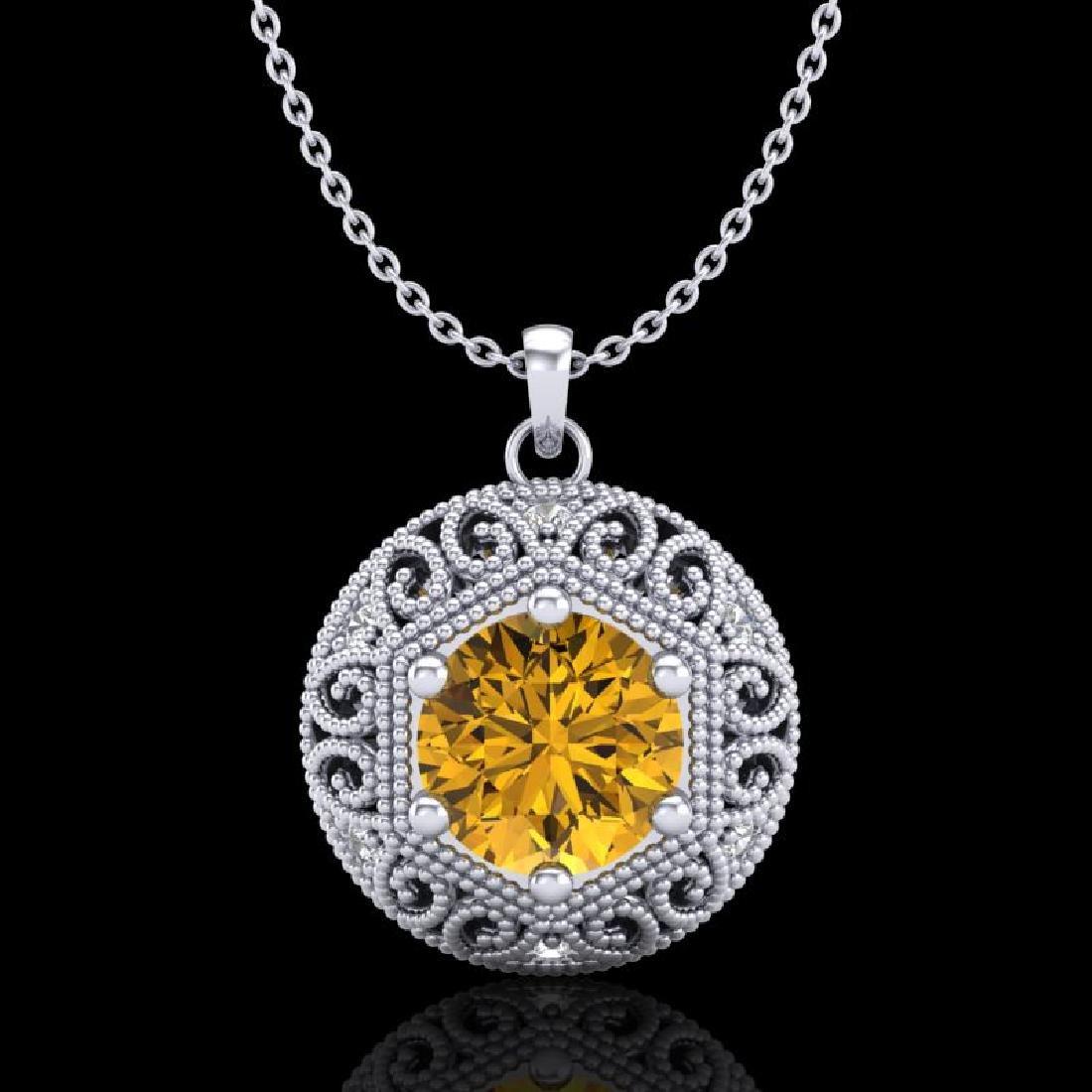 1.11 CTW Intense Fancy Yellow Diamond Art Deco Stud